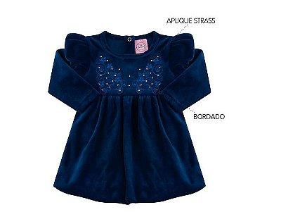 Vestido Feminino Bebê Balonê em Plush Azul Marinho Andri Malhas