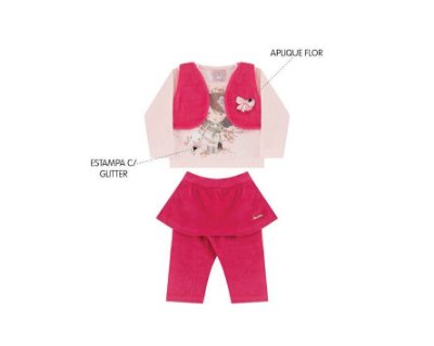 Conjunto Cotton Bebê Feminino com Colete em Plush Andri Malhas