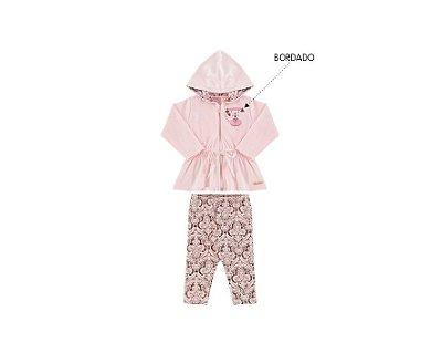 Conjunto Plush Bebê Feminino Calça Legging de Cotton Estampada Andri Malhas