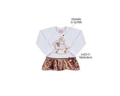 Blusa Cotton Feminina Primeiros Passos em Chiffon Andri Malhas