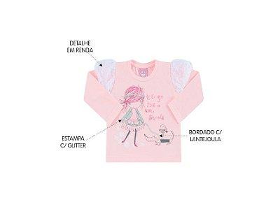 Blusa Cotton Feminina Primeiros Passos com Renda Lets Go Andri Malhas