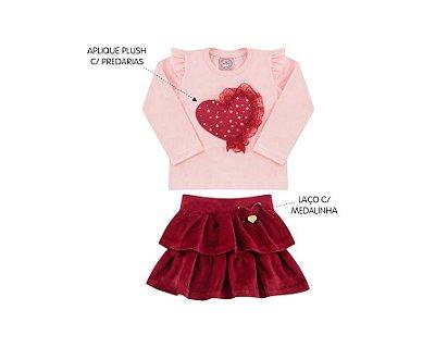 Conjunto Cotton Feminino Primeiros Passos com Saia em Plush Andri Malhas