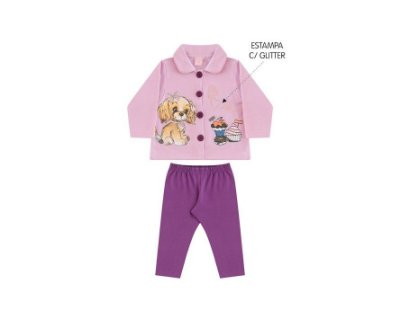 Conjunto Moletom Bebê Feminino Estampado com Glitter Andri Malhas