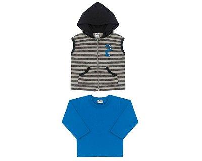 Conjunto Masculino Primeiros Passos Colete com Capuz e Camiseta Andritex
