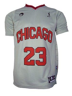 Camiseta Basquete Chicago 23 Cinza Claro