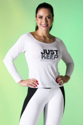 Blusa Branca Just Keep Moving Canoan
