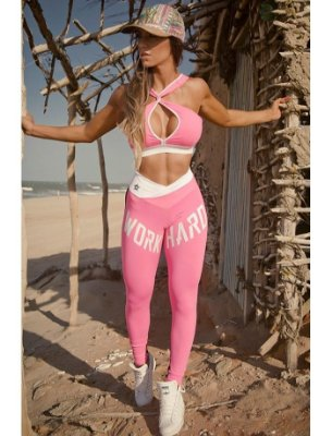 Legging Work Hard Pink Superhot