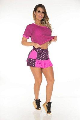 Shorts Saia Aline Pink Star Garota Fit