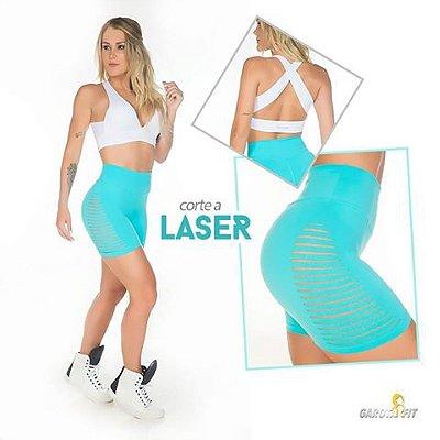 Shorts Recortes Laser Azul Turquesa Garota Fit