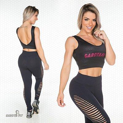 Calça Fusô Laser Preta Garota Fit