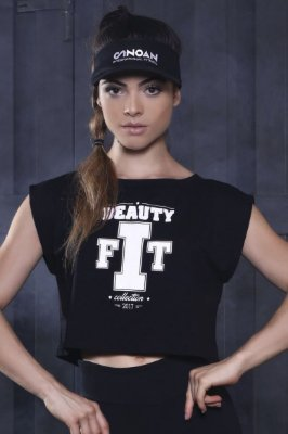 Blusa Cropped Beauty Fit Black Canoan