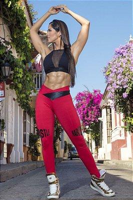 Calça Legging Hustle Harder Red Superhot