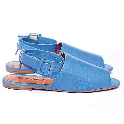 Sandália Rasteira Azul Denim Napa Sintético