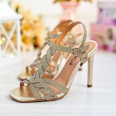 Sandália Dourada Brilho Lumi Salto Fino Jessica Mello