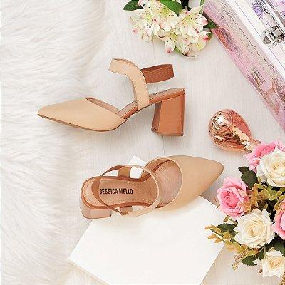 Sapato Scarpin Jessica Mello Napa Sintético Salto Bloco