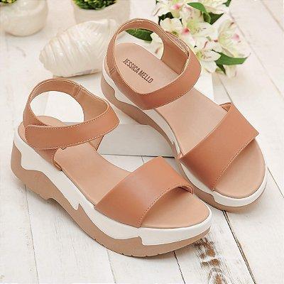 Sandália Flatform Caramelo Branco Napa Sintético Velcro