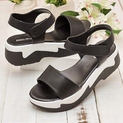 Sandália Flatform Preto Branco Napa Sintético Velcro
