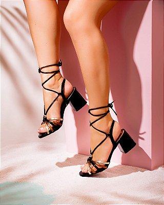 Sandália Preta Com Amarração Tiras Cobre e Ouro