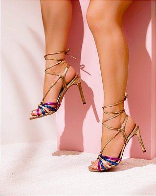Sandália Metalizada Amarração Pink Celeste Ouro