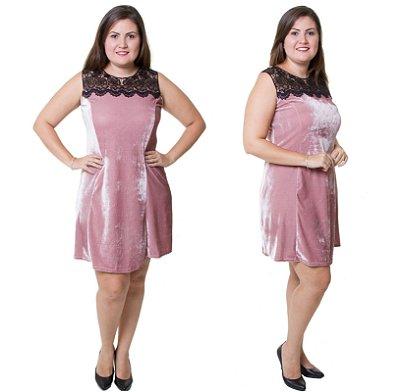 Vestido Estilo Fino Moda Plus Size Veludo Molhado Rose