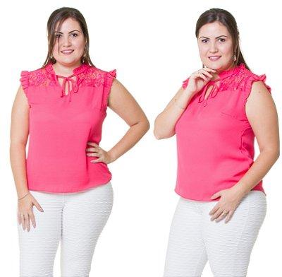 Camisa Estilo Fino Moda Plus Size Crepe Pink