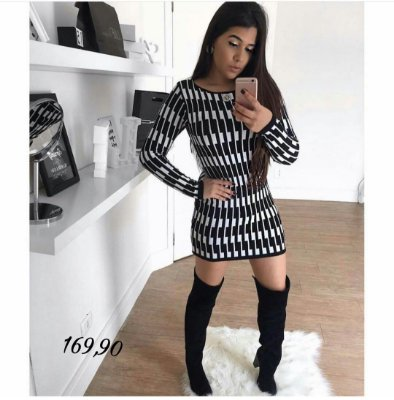 Vestido Manga Longa Fio Modal Black White