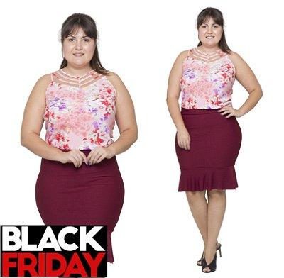 Blusa Plus Size Estampa Rosa