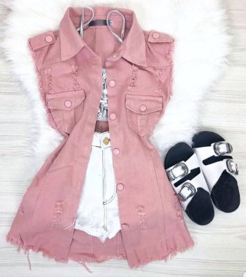 Maxi Colete Jeans Rosa