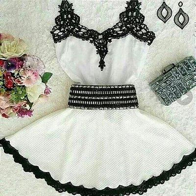Regata Branca Guipir Preto