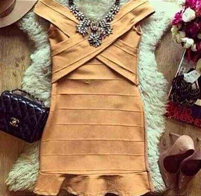 Vestido Bandagem Caramelo