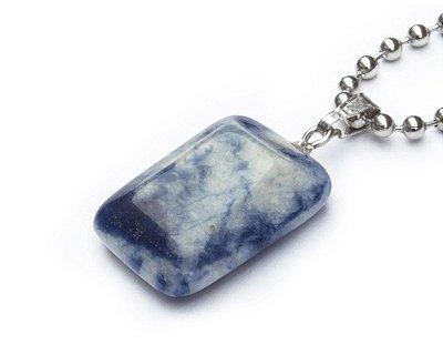 Colar Masculino Aço Inox Pingente Pedra Jaspe Azul MATER - Cod C121