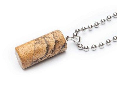 Colar masculino Aço Inox Pingente Pedra CILINO - Cod C115