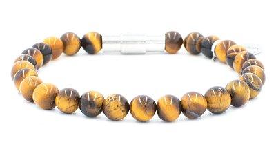 Pulseira TULIPE Pedra Olho de Tigre Fecho iNOX - Cod P124