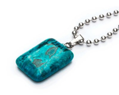 Colar Masculino Aço Inox e Pingente Pedra Jaspe Azul Imperial MATER - Cod C120