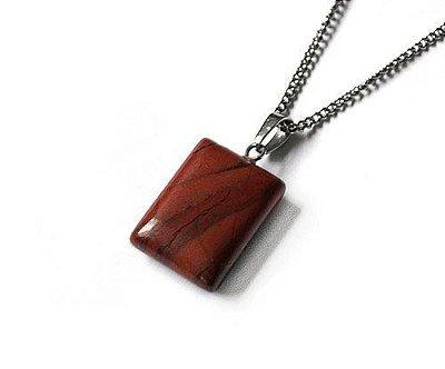 Colar Masculino Aço Inox Pingente Pedra Jaspe Vinho CARIL - Cod C210