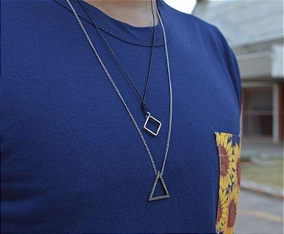 Colar Masculino Duplo de Inox  Cordão Com Pingente em Prata - Cod C133