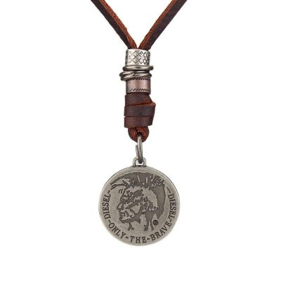 Colar Masculino de Couro Medalha ALABAMA - Cod 1E188