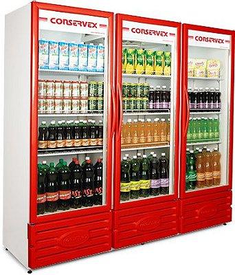 Expositor Refrigerado Vertical 3 Portas Vermelho ERV-1300/V Conservex