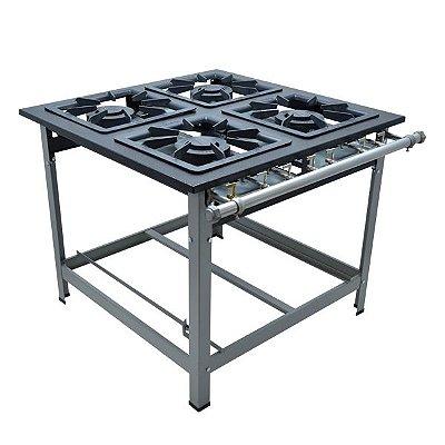 Fogão Industrial a Gás de Baixa Pressão 4D (com espera) M14  - Série Luxo 40X40 Metal Maq