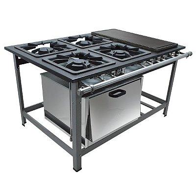 Fogão Industrial a Gás de Baixa Pressão M22 CH Forno - Série Luxo 40X40 Metal Maq