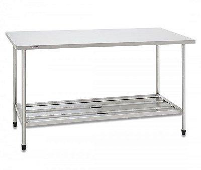 Mesa com estrutura, pés, tampo e prateleira gradeada em inox - Fritomaq
