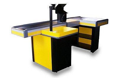 Check-out para Automação Comercial ref: amarelo-preto - Cristal Aço