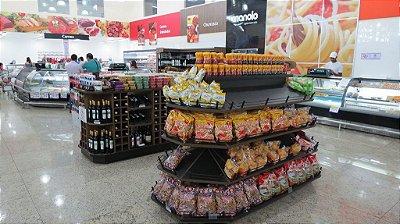 Expositor de Centro para Alimentos e Bebidas Art-Market ref: art18 - Cristal Aço