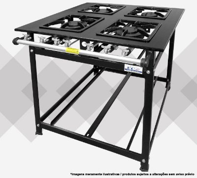 Fogão Industrial 4 bocas simples e duplo perfil 12 - FC2 Gastronomia