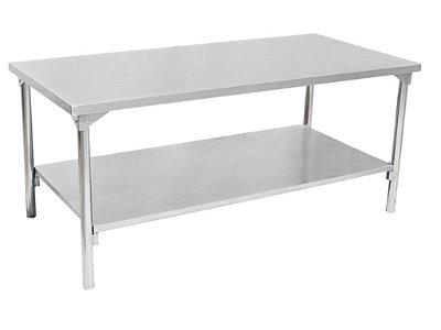 Mesa com prateleira inferior lisa - Totalmente em Aço Inox 430 ou 304 - Innal
