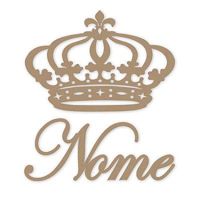 Coroa De Princesa Mdf 60 Cm + Nome Em De 60 Cm