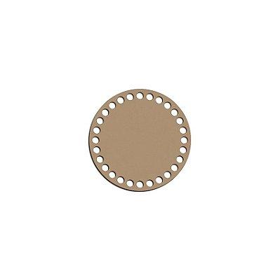Base de mdf para crochê - Redonda - com 10 cm e 28 furos