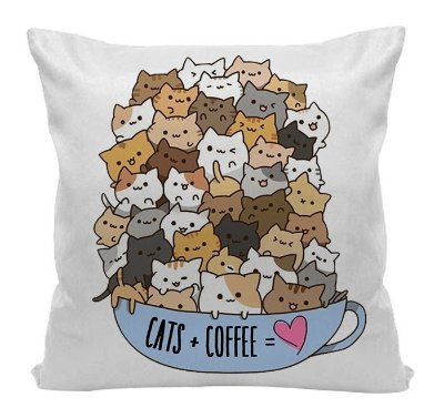 Almofada - Cats + Coffee = Love