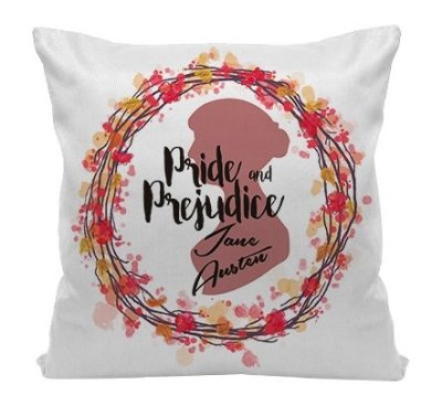 Almofada - Frase - Jane Austen - Pride and Prejudice - Happy