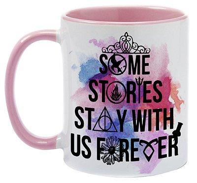 Caneca Bookstagram -   Algumas histórias ficam conosco para Sempre